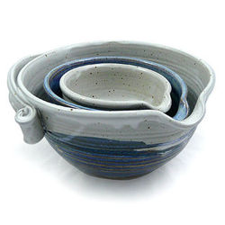 Nested Stoneware Pottery Batter Bowls