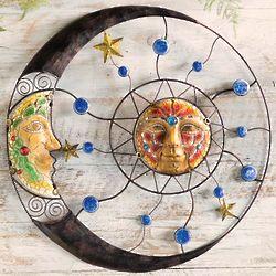 Mosaic Sun and Moon Wall Sculpture