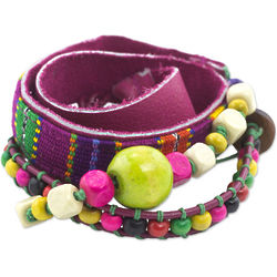 Maya Colors of Happiness Leather Bracelet with Wood Beads