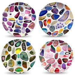 Gems on White Dinner Plate Set