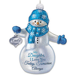 Snow-Kissed Wishes for Daughter Personalized Snowman Ornament