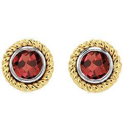 50's Style 1.25 CTW Garnet 14K Two-Tone Bezel Stud Earrings