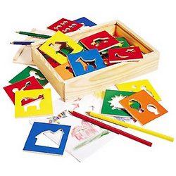 Wooden Stencil Box Playset