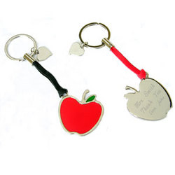 Personalized Apple Key Chain with Heart Charm