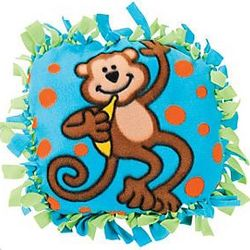 Fleece Monkey Tied Pillow Craft Kit