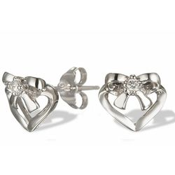 Diamond Bow and Heart Stud Earrings in 14k Gold