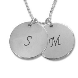 Mother's Silver Personalized Initial Disc Pendant Necklace