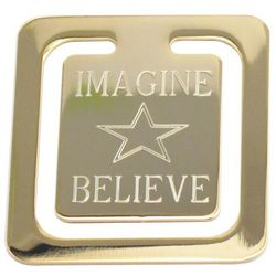 "Engraved ""Imagine Believe "" Gold Plated Bookmark"