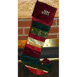 Layered Ribbon Traditional Personalized Christmas Stocking