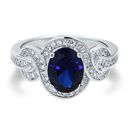 Sapphire Cubic Zirconia and Sterling Silver Fancy Cocktail Ring