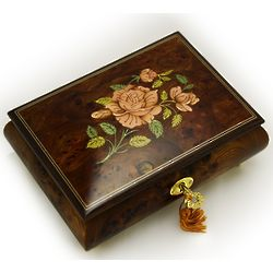 Handmade Italian Single Rose Musical Jewelry Box