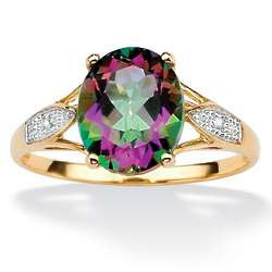 Oval-Cut Genuine Mystic Topaz with Diamond Accents Ring