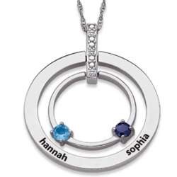 Engraved Sterling Silver Family Birthstone Circle Necklace