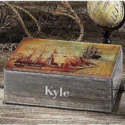 Personalized Ship Glass Box
