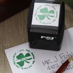 Irish Shamrock Return Address Self-Inking Stamper