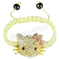 Children's Shamballa-Inspired Kitty Cord Bracelet