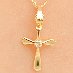 Girl's 14K Gold Heirloom Diamond Cross Necklace
