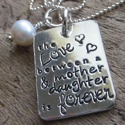 The Love Between a Mother And Daughter Hand Stamped Necklace