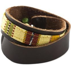 Men's Leather and Cotton Wristband Bracelet