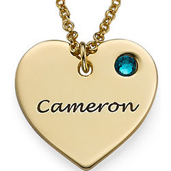 Personalized Gold-Plated Heart Necklace with Birthstone