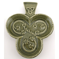 Green Ceramic Shamrock Dish