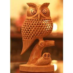 Latticework Owls Wood Statuette