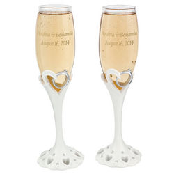 Personalized Wedding Ring Champagne Flutes