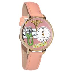Nurse 2 Pink Whimsical Watch in Large Gold Case