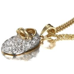 Baby Shoe Pendant in 14k Two Tone Gold with CZ April Birthstone