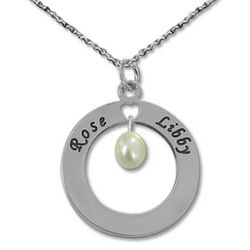 Engraved Mother Necklace with Birthstone