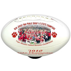 Personalized Full Size White Football with Color Images and Text
