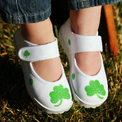 Hand Painted Shamrock Infant and Toddler Shoes