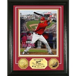 Bryce Harper Framed Photo Mint with Gold Plated Coins