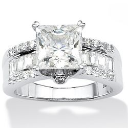 Princess-Cut Cubic Zirconia Platinum Over Sterling Bridal Ring