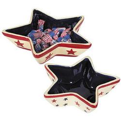 Patriotic Star-Shaped Ceramic Bowls