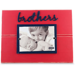 Blue and Red Wooden Brothers Frame