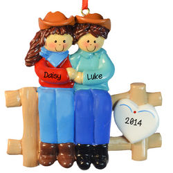 Country Western Cowboy Couple on Fence Ornament