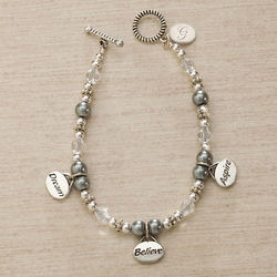 Personalized Dream, Believe, Aspire Charm Bracelet