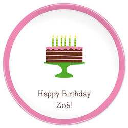 Girl's Personalized Birthday Cake Pink Plate