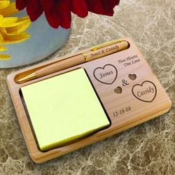 Personalized Both Our Hearts Wooden Notepad & Pen Holder