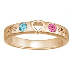 'You Have My Heart' Couple's Name & Birthstone Band