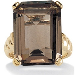 Smoky Quartz 14K Gold Plated Ring