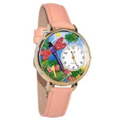 Dragonflies Whimsical Watch in Large Gold Case