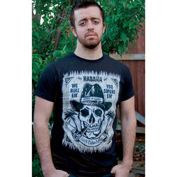 Mens Skull with Cigar and Hat Black T-Shirt