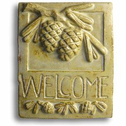 Pine Cone Ceramic Clay Welcome Sign