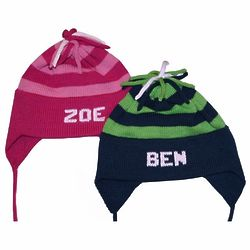 Personalized Striped Cotton Earflap Hat