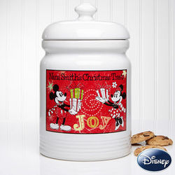 Personalized Mickey and Minnie Mouse Christmas Cookie Jar