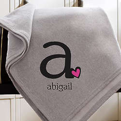 Personalized Sweatshirt Initial and Heart Blanket