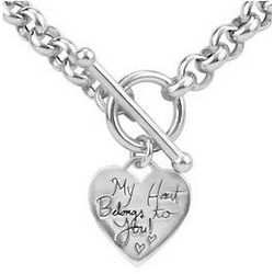 Sterling Silver My Heart Belongs to You Charm Toggle Necklace