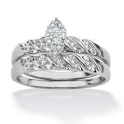 Round Diamond Platinum Over Sterling Ring